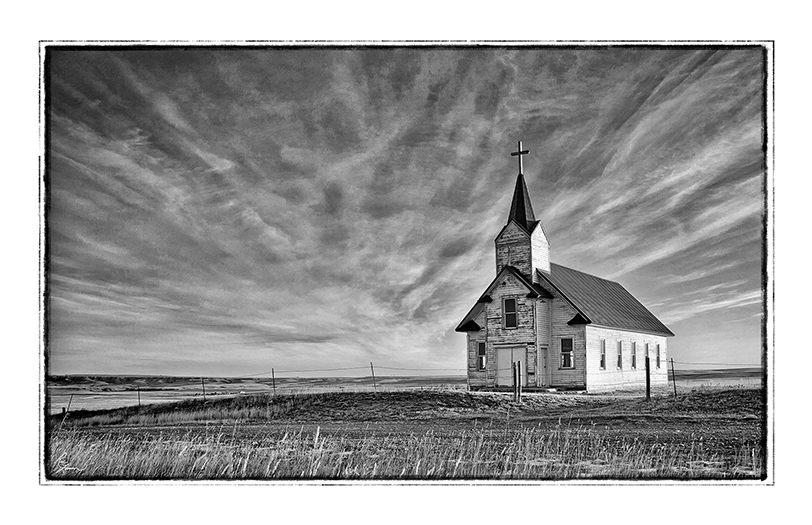 Broadview Catholic church bw 35x23